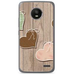 Funda Gel Tpu para Motorola Moto E4 Diseño Corazones Madera Dibujos