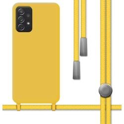 Funda Silicona Líquida con Cordón para Samsung Galaxy A52 /A52 5G color Amarilla