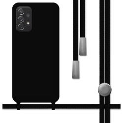 Funda Silicona Líquida con Cordón para Samsung Galaxy A52 / A52 5G color Negra