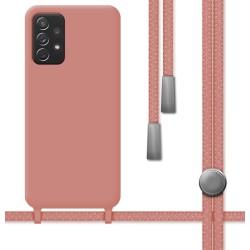 Funda Silicona Líquida con Cordón para Samsung Galaxy A52 / A52 5G color Rosa