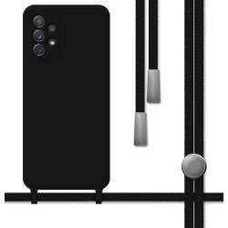 Funda Silicona Líquida con Cordón para Samsung Galaxy A72 color Negra