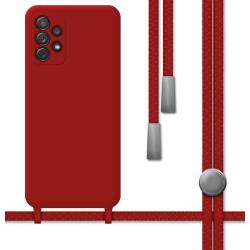 Funda Silicona Líquida con Cordón para Samsung Galaxy A72 color Roja
