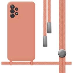 Funda Silicona Líquida con Cordón para Samsung Galaxy A72 color Rosa