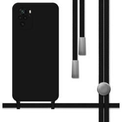 Funda Silicona Líquida con Cordón para Xiaomi Redmi Note 10 / 10S color Negra