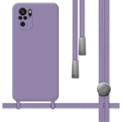 Funda Silicona Líquida con Cordón para Xiaomi Redmi Note 10 / 10S color Morada