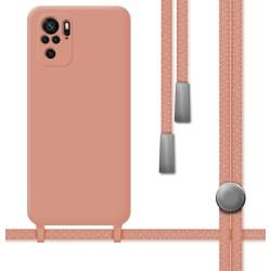 Funda Silicona Líquida con Cordón para Xiaomi Redmi Note 10 / 10S color Rosa