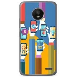 Funda Gel Tpu para Motorola Moto E4 Diseño Apps Dibujos