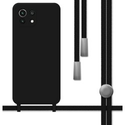 Funda Silicona Líquida con Cordón para Xiaomi Mi 11 Lite 4G / 5G color Negra