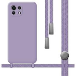 Funda Silicona Líquida con Cordón para Xiaomi Mi 11 Lite 4G / 5G color Morada