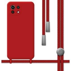 Funda Silicona Líquida con Cordón para Xiaomi Mi 11 Lite 4G / 5G color Roja