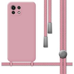 Funda Silicona Líquida con Cordón para Xiaomi Mi 11 Lite 4G / 5G color Rosa