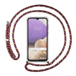 Funda Colgante Transparente para Samsung Galaxy A32 4G con Cordon Rosa / Dorado