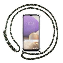 Funda Colgante Transparente para Samsung Galaxy A32 4G con Cordon Verde / Dorado