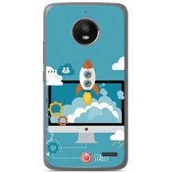 Funda Gel Tpu para Motorola Moto E4 Diseño Cohete Dibujos