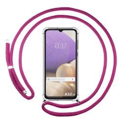 Funda Colgante Transparente para Samsung Galaxy A32 4G con Cordon Rosa Fucsia