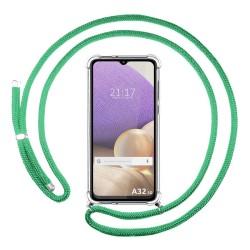 Funda Colgante Transparente para Samsung Galaxy A32 4G con Cordon Verde Agua