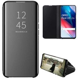 Funda Flip Cover Clear View para Oppo Find X3 Lite 5G color Negra
