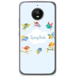Funda Gel Tpu para Motorola Moto E4 Plus Diseño Spring Birds Dibujos