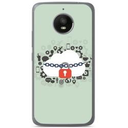 Funda Gel Tpu para Motorola Moto E4 Plus Diseño Nube Dibujos