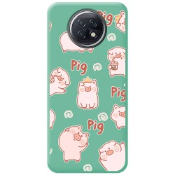 Funda Silicona Líquida Verde para Xiaomi Redmi Note 9T 5G diseño Cerdos Dibujos