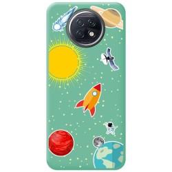 Funda Silicona Líquida Verde para Xiaomi Redmi Note 9T 5G diseño Espacio Dibujos