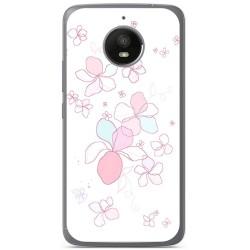 Funda Gel Tpu para Motorola Moto E4 Plus Diseño Flores Minimal Dibujos