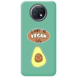 Funda Silicona Líquida Verde para Xiaomi Redmi Note 9T 5G diseño Vegan Life Dibujos