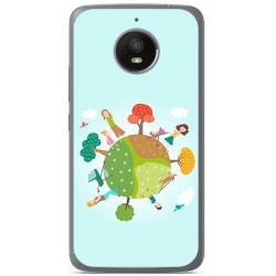 Funda Gel Tpu para Motorola Moto E4 Plus Diseño Familia Dibujos