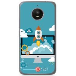 Funda Gel Tpu para Motorola Moto E4 Plus Diseño Cohete Dibujos