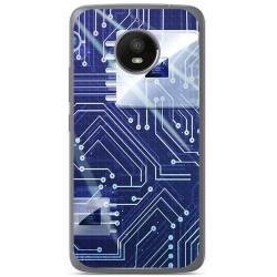 Funda Gel Tpu para Motorola Moto E4 Plus Diseño Circuito Dibujos