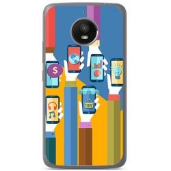 Funda Gel Tpu para Motorola Moto E4 Plus Diseño Apps Dibujos