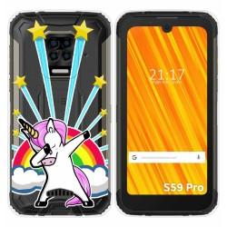 Funda Gel Transparente para Doogee S59 Pro diseño Unicornio Dibujos