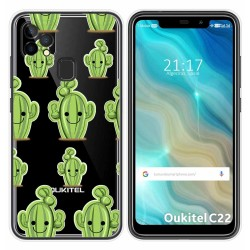 Funda Gel Transparente para Oukitel C22 diseño Cactus Dibujos