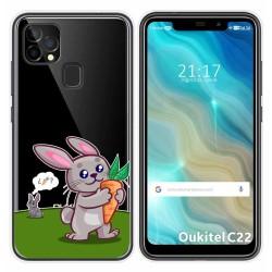 Funda Gel Transparente para Oukitel C22 diseño Conejo Dibujos