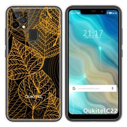 Funda Gel Transparente para Oukitel C22 diseño Hojas Dibujos