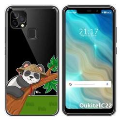 Funda Gel Transparente para Oukitel C22 diseño Panda Dibujos