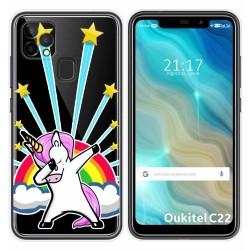 Funda Gel Transparente para Oukitel C22 diseño Unicornio Dibujos