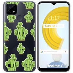 Funda Gel Transparente para Realme C21 diseño Cactus Dibujos