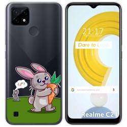 Funda Gel Transparente para Realme C21 diseño Conejo Dibujos
