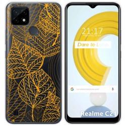 Funda Gel Transparente para Realme C21 diseño Hojas Dibujos