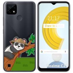 Funda Gel Transparente para Realme C21 diseño Panda Dibujos