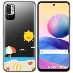 Funda Gel Transparente para Xiaomi Redmi Note 10 5G / POCO M3 PRO 5G diseño Playa Dibujos