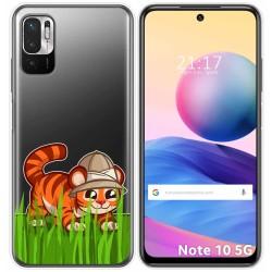 Funda Gel Transparente para Xiaomi Redmi Note 10 5G / POCO M3 PRO 5G diseño Tigre Dibujos