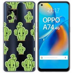 Funda Gel Transparente para Oppo A74 4G diseño Cactus Dibujos