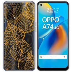 Funda Gel Transparente para Oppo A74 4G diseño Hojas Dibujos