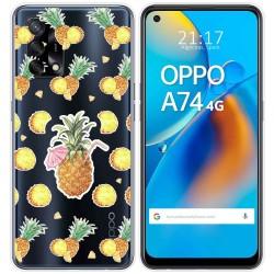 Funda Gel Transparente para Oppo A74 4G diseño Piña Dibujos