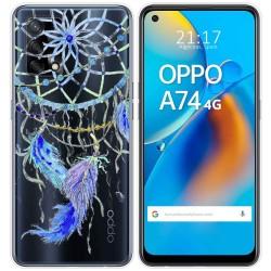 Funda Gel Transparente para Oppo A74 4G diseño Plumas Dibujos