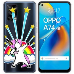 Funda Gel Transparente para Oppo A74 4G diseño Unicornio Dibujos