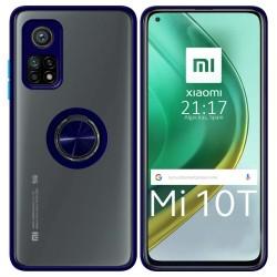 Funda Mate con Borde Azul y Anillo Giratorio 360 para Xiaomi Mi 10T 5G / MI 10T Pro 5G