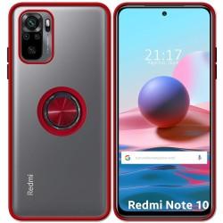 Funda Mate con Borde Roja y Anillo Giratorio 360 para Xiaomi Redmi Note 10 / 10S